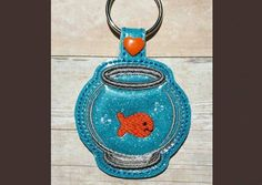 Fishbowl Key Fob - Machine Embroidery Pattern - Whimsy Embroidery