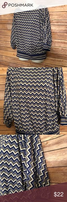 "Max Studio Chevron blouse. Max Studio blue/gray/ivory chevron blouse. Size S. Polyester blend. Measurement approximate. Length: 21"". Max Studio Tops Blouses"