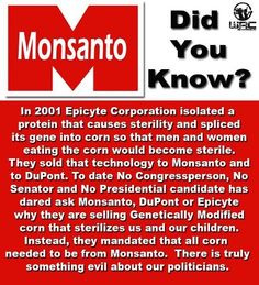 .ask obama, he knows this and fully supportive of monsanto.  do those leftwing-econuts know they voted in this anti -nature guy to be their leader??
