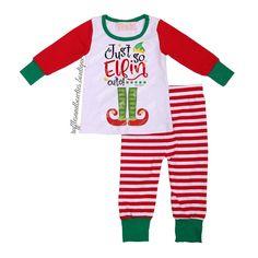 *** EXCLUSIVE*** Just So Elfin Cute Kids Christmas Pajamas - Red, Green