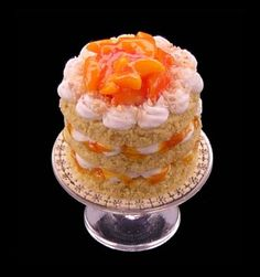 Peaches and cream gateau from The English Kitchen. I own a lot of her miniature foods. They are miraculous in their detail.