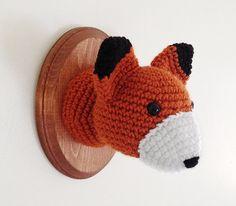 """Fox Faux Taxidermy, Crocheted (5""""x7"""")"""
