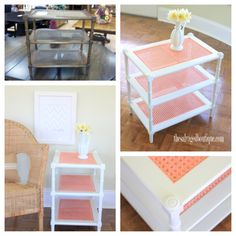 """The Creamsicle Table"" - a three tiered cane table gets a springtime makeover 