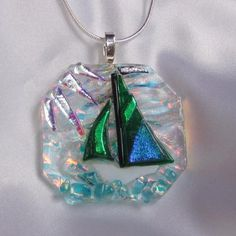 SAILING THE EMERALD JEWEL a fused glass jewelry pendant with necklace