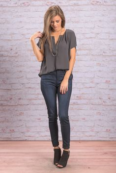 """""""Can You Say Easy Blouse, Charcoal"""" This charcoal colored top is wonderfully versatile! It can easily be paired with anything from jeans to skirts! #newarrivals #shopthemint"""
