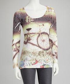 Take a look at this Brown & Cream Bike Long-Sleeve Burnout Top by In-City Los Angeles on #zulily today!