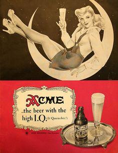 acme, beer, vintage, illustration, advertisements