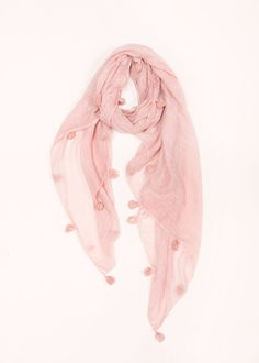 Scratched Pompom Scarf - Blush ...................... #lookbym #spring #lightweight #scarves #pompom #fashion #ootd #girly #blush #pink #prettyinpink #musthave #trendy #trends #accessories #musthave