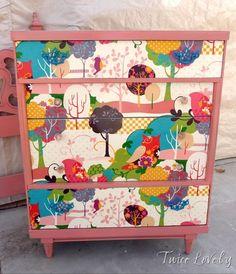 Fabric front Mod Podge dresser