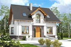 Projekt domu z poddaszem o pow. 113,9 m2 z dachem dwuspadowym, z tarasem, z wykuszem, sprawdź! Small Country Homes, Cottage Style Homes, Dream House Exterior, Concept Home, Classic House, House Front, Home Fashion, Traditional House, My Dream Home