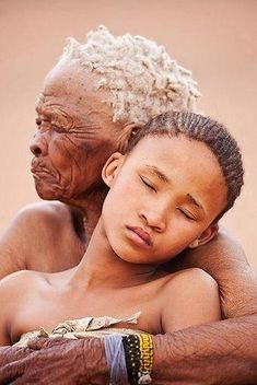 Beautiful capture of a grandmother and granddaughter in Namibia