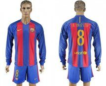 Barcelona #8 A.Iniesta Home Long Sleeves Soccer Club Jersey