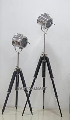 NauticalMart Vintage Industrial Theatre Stage Spotlight Searchlight Tripod Floor Lamp Set of 2 Stage Spotlights, Theater Architecture, Industrial Floor Lamps, Theatre Stage, Theatre Design, Lamp Sets, Vintage Industrial, Tripod, Prime Deals