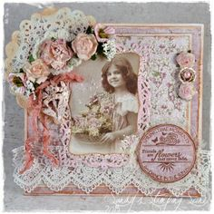 "Card by LLC DT Member Sandra ""Sandy"" Mathis, using papers from Maja Design's Vintage Spring Basics collection and a PIon Design image."