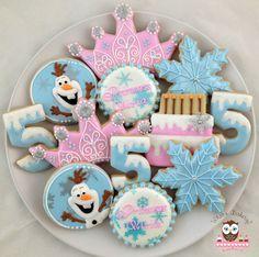 Frozen Cookies, Birthday cookies, Olaf cookies, snowflake cookies, frozen birthday cake cookies, tiara cookies