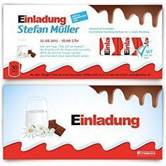 Einladungskarten zum Geburtstag (40 Stück) Schokolade für Kinder Schoko Milch Riegel Kakao