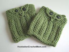 Owl Boot Cuff Topper Sock - Khaki Green Handmade Crochet #crochet #boot #bootcuff #handmade