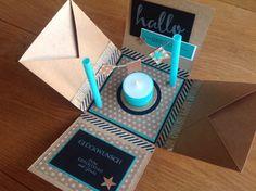 Contract work explosion box – Gift For Men Handmade Scrapbook, Diy Scrapbook, Easy Diy Crafts, Diy Crafts To Sell, Diy Birthday, Birthday Cards, Birthday Gifts, Card In A Box, Christmas Crafts To Sell