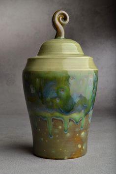 Green tea jar by Symmetrical Pottery