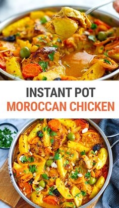 Looking for some new and exciting pressure cooker chicken recipes that are healthy and delicious? Try our Instant Pot Moroccan chicken stew with olives, potatoes and apricots. It's beautifully spiced, a little sweet with citrusy, lemony notes. Perfect one-pot dish to serve with couscous, rice or cauliflower rice, or crusty bread on the side. It's gluten-free and Whole30-friendly.#instantpot #moroccan #chickenrecipes Chicken Stew With Potatoes, Stewed Potatoes, Pressure Cooker Chicken, Instant Pot Pressure Cooker, Couscous Rice, Couscous Recipes, Moroccan Dishes, Moroccan Chicken, One Pot Dishes