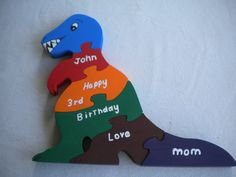 Dinnosaur puzzle, birthday card, young child, wood puzzle,birthday gift,handmade puzzle, non toxic puzzle, hand painted,child's name by WoodnThingsNY12534 on Etsy