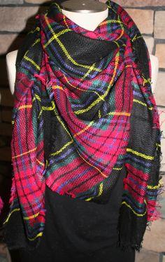 Plaid Tartan Blanket Scarf Black Plaid Scarf Christams Gift Scarves Zara Style Plaid Bloggers Favorite-Monogramming Avail by SewPriorAttireMitten on Etsy