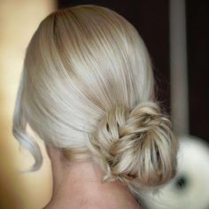 light blonde twisted knotted Updo