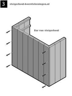 Stap3 van de bouwtekening, schroef voor en zijkant van de bar aan elkaar. Zijpanelen voor een #tuinbar maken, steigerhout #bar bouwtekening onderdelen.