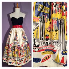 AHOY 1950s Nautical Boats Novelty Print Skirt by hifivintageshop, $85.00