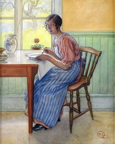 Svea in the kitchen, 1917 - Carl Larsson (Swedish painter, Arts and Crafts Movement, 1853-1919)