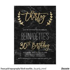 Faux Gold Typography Black Marble 30th Birthday Invitation 18th Cards Invitations