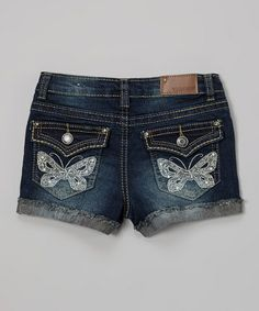 Love this Blue Atoli Lacy Lace Butterfly Denim Shorts - Girls on #zulily! #zulilyfinds