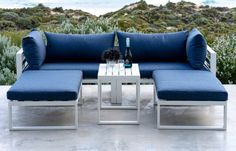 Modern Garden Lounge Sets - Garden Furniture - Out and Out Garden Cushions, Blue Cushions, Pallet Garden Furniture, Outdoor Furniture, Outdoor Lounge, Outdoor Decor, Blue Garden, Furniture Assembly, Furniture Covers