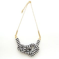 Stripe Rope Knot Necklace by HOMAKO on Etsy