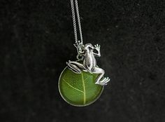 Sterling Silver Real Leaf TREE FROG necklace. Real leaf in resin with cute climbing frog. Jewelry for her. by VillaSorgenfrei on Etsy https://www.etsy.com/listing/231532182/sterling-silver-real-leaf-tree-frog