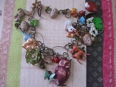 Woodland Creatures no 2. vintage jewelry and handsculpted charm bracelet