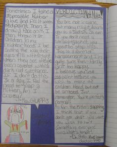 """This is such a fun notebook assignment I do with my 8th graders to review VOICE in writing. This sample is Shelby's. Inspired by a real, recurring feature in """"Reader's Digest,"""" my students create and decorate imaginary advice columns in their notebooks.  Here's a link to this lesson: http://corbettharrison.com/free_lessons/NormalOrNuts.htm"""