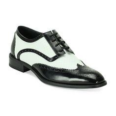 Giorgio Venturi Men's Black and White Wing Tip Oxfords