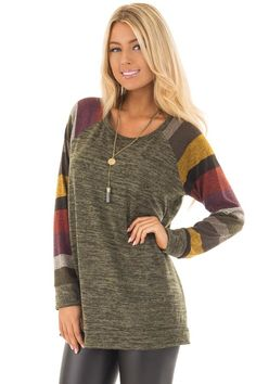 b54e3f86ee2db3 Lime Lush Boutique - Olive Striped Raglan Sleeve Top Sweater