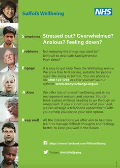 The NHS #Wellbeing service in #Suffolk has launched a new-look Suffolk Wellbeing poster designed by some of its service users.