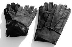 Lamsvacht schapenvacht dames handschoenen zwart