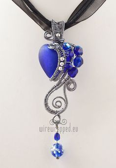 OOAK Cobalt blue goth wire wrapped heart pendant by ukapala