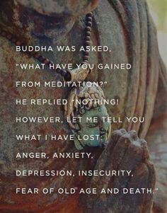 "Buddha was asked, ""What have you Gained from Meditation? "" He replied ""Nothing! However, let me tell you what I Have Lost: Anger, Anxiety. """