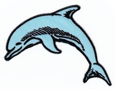 3.6 x 2.7 inches Dolphin Animal Sew-on Iron-on Patches Embroidered Applique ** Details can be found by clicking on the image.