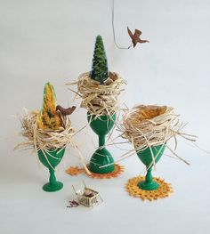 'Nurturing the Trees' found objects, craft and photographic cutouts