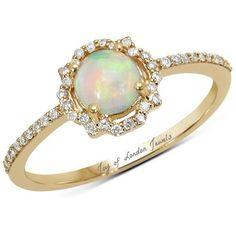 0.51 Carat Genuine Ethiopian Opal and White Diamond 14K Yellow Gold Ring