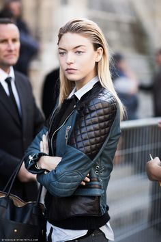 We love motocross jackets! Wear them with a buttoned up shirt and statement skirt. #Weekend