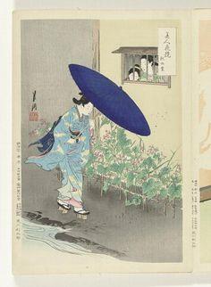 Identificatie / Vervaardiging  Collectie  prenten / Japanse albums  Objectnummer  RP-P-1982-93  Titel(s)  Bloeiende heg  Vergelijkingen tussen schoonheden en bloemen (serietitel)  Bijin hana kurabe (Japanse serietitel op object)  Vervaardiger  naar ontwerp van: Ogata Gekko  (Tokyo 1859 - 1920) (vermeld op object)  plaats vervaardiging: Japan  prentmaker: anoniem  plaats vervaardiging: Japan  uitgever: Takekawa Risaburo (vermeld op object)  plaats vervaardiging: Japan  Datering  1887 - 1896