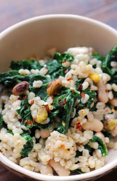 Barley Salad with Kale, Pistachios, and Feta