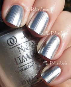 OPI Gwen Stefani Collection - Push and Shove is a silver chrome. This polish comes in a duo with a mini sized base coat called Lay Down That Base Opi Colors, Nail Polish Colors, Great Nails, Fun Nails, Amazing Nails, Mani Pedi, Manicure, Opi Polish, Make Up